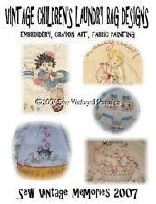 CD Vintage Vogart Era Children's Laundry Bag Black Americana Embroidery Designs