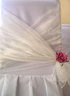 Chair Sash Ideas for the Not-So-Frilly Bride  www.tablescapesbydesign.com https://www.facebook.com/pages/Tablescapes-By-Design/129811416695