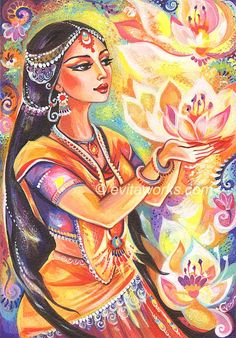 Goddess India Spiritual Lotus Devi Ethnic Fantasy Woman Ornate Girl Painting - Pray of the Lotus River - Art Print 9.5x13. $16.00, via Etsy.