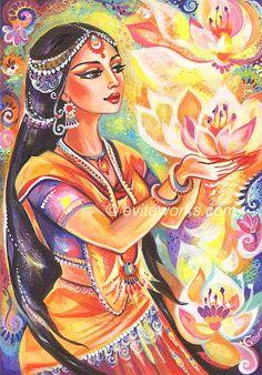 Praying Woman, Indian Woman, Lotus, Spiritual Painting, Inspirational Art, Wall Decor, Indian Painting, Goddess Art - Art Print via Etsy