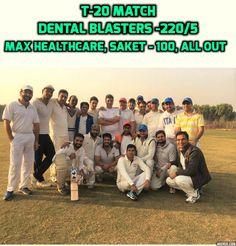 Dental Blasters end this year in a winning note with massive 121 run win against Max Healthcare, Saket.!!! Brothers Athreya rajagopal hammers 90 runs ( 4s-12, 6s-2) and abhishek rajagopal 59 runs ( 4s-16, 6s-2) with Neeraj Singh contributing 39 runs (4s-3, 6s-2) with 3 wkts. #DentalBlasters #DentistsCricketTeam #YearEndWinning #HighSpirits