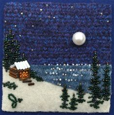 Large photo of Up At the Lake -Winter Felt Pictures, Beads Pictures, Beaded Embroidery, Cross Stitch Embroidery, Embroidery Designs, Jo Wood, Fabric Brooch, Fabric Journals, Small Art