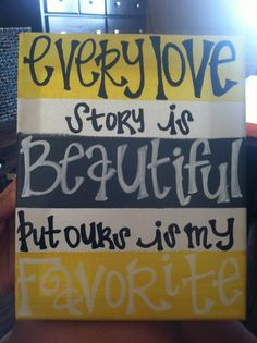 gray and yellow striped love story canvas art by OBWDesigns, $15.00