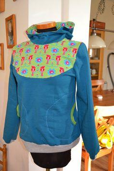 E m i l y m o t t e : RUMS#45  woodpecker jersey + effen blauw sweat Schnitt: Lady Bella by Mialuna + Kapuze