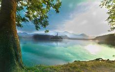 Lataa kuva Bled, aamulla, lake, Alpeilla, vuoret, kesällä, Slovenia