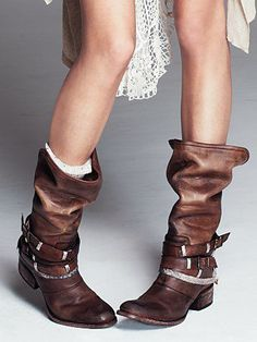 87db2872c12a1a Free People Drazen Mid Boot Distressed leather tall boot with multiple  leather buckle straps wrapped around the ankle with woven rope detailing.