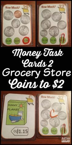 Functional and versatile, these money task cards will eliminate the need to laminate and fit in baseball card holders. Perfect for early elementary and special education. Use them with dry erase, paperclips or clothespins. Students identify money amounts and can match them to grocery items. Money task cards 1 also available. $