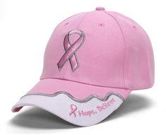 Breast Cancer Awareness Pink Ribbon Logo Hat - Hope, Believe