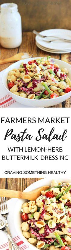 Farmers Market Pasta Salad with Lemon-Herb Buttermilk Dressing|Craving Something Healthy #pastasalad #vegetarian #summermeals #picnic