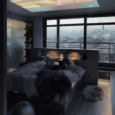 Image may contain: 1 person, indoor Black Bedroom Design, Black Interior Design, Home Room Design, Bedroom Setup, Home Decor Bedroom, Modern Bedroom, Dark Interiors, Dream Rooms, Luxurious Bedrooms