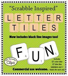 On sale 2/1-4/14 ~ 20% off! Scrabble Inspired! Letter Tiles Clip Art ~Commercial Use OK~
