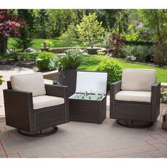 Wicker Resin 3 PC Patio Furniture Set, 2 Chairs, Cooler Side Table