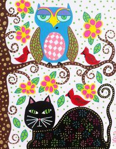 Items similar to Kerri Ambrosino Art PRINT Mexican Folk Art Black Cat Owl Red Cardinals on Etsy Folk Art Flowers, Flower Art, Frida Art, Arte Popular, Bird Illustration, Mexican Folk Art, Owl Art, Naive Art, Whimsical Art