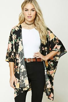 Forever 21 Contemporary - A woven kimono featuring an allover floral print, open-front, short dolman sleeves, and a draped silhouette.