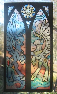 Stained Glass Princess Luna and Celestia from My by FayProductions,