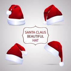 Santa Claus Beautiful Hats. Santa's Red Hats. Santa