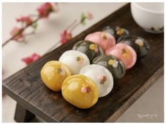 Songpyeon, Korean half-moon-shaped rice cakes traditionally eaten during the Korean autumn harvest festival,Chuseok.