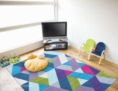 Funk Chevron Blue Green Rug, a modern multi-coloured 100% wool hand-tufted rug (available in 5 colours incl. hall runner) http://www.therugswarehouse.co.uk/modern-rugs3/funk-rugs/funk-chevron-blue-green-rug.html #rugs #hallrunners