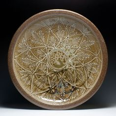 """Alex Matisse, Charger. Dimensions: 4""""x23.5"""" Materials: Wood Fired North Carolina Stoneware, Ash Glaze with Slip Trailing. (sold)(sold)https://www.crimsonlaurelgallery.com/shop/alex-matisse-charger.html http://eastforkpottery.com/new-page/"""