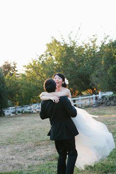 Kenneth & Regina's wedding, DeLille Winery. Sarah Seven dress from the Dress Theory, Seattle. angelaandevan.com