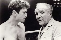 """Uncredited Photographer Robert De Niro, Training for His Role as Boxer Jake LaMotta in Martin Scorcese's """"Raging Bull"""" with the Real Jake LaMotta 1980 """"I fought Sugar [Ray Robinson] so many times that I'm lucky I didn't get diabetes"""" Jake LaMotta"""