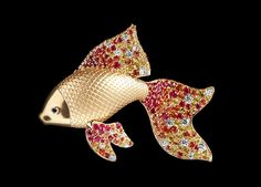 Mousson Atelier, collection Eden - Goldfish, Yellow gold 750, Rubies, Diamonds, Multicolored sapphires