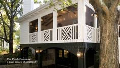Chippendale railing on screened porch with carport below. Photo courtesy of The Porch Company in Nashville. Front Porch Railings, Deck Railings, Screened In Porch, Porch Pillars, Front Porches, Railing Design, Railing Ideas, Pergola Ideas, Porch Ideas