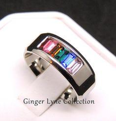 Happy, Multi Color Titanium Wedding Ring Band