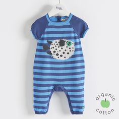 The Bonnie mob SS16 - The Life Aquatic. POOTLE Organic Cotton Blue Pufferfish Baby Boys Playsuit/Romper. Lightweight knitted striped playsuit with short raglan sleeve and long leg length, perfect for spring dressing, featuring 'puffer fish' intarsia design.