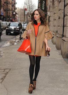Louise Roe rocks orange&camel outfit