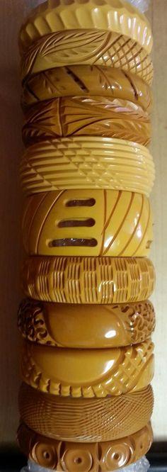 RUBYLANE photo credit Lovely carved butterscotch bakelite bracelets