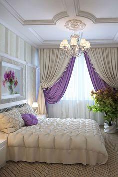 Дизайн спальни в светлых тонах Бра и настенные светильники - Киев