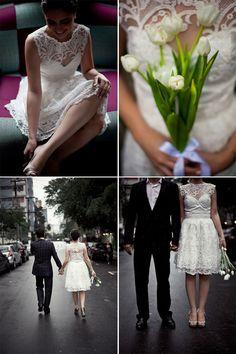 Noiva de vestido curto e lindo!
