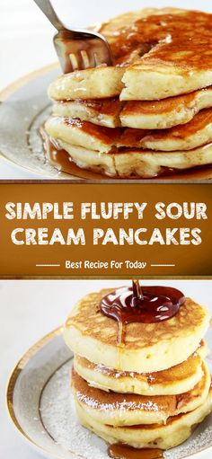 INGREDIENTS cup all-purpose flour 1 cup milk ½ cup sour cream 1 egg, slightly beaten 2 tablespoons sugar 2 tablespoons butter, melted 1 t. What's For Breakfast, Breakfast Dishes, Breakfast Recipes, Breakfast Casserole, Best Dessert Recipes, Fun Desserts, Oreo, Sour Cream Pancakes, Chewy Sugar Cookie Recipe