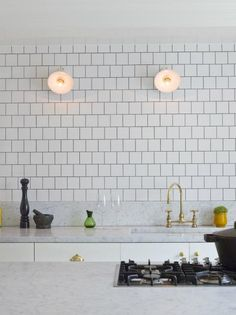 subway tiles + light fittings