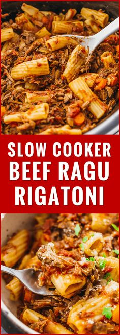 Here's a recipe that really makes the slow cooker shine: deliciously tender shredded beef ragu sauce paired with rigatoni pasta. ragu, bolognese, cheese, italian, crockpot, meat, traditional, copycat, homemade, easy, tusscan, classic, healthy, tomato, authentic, quick, italiano, jamie oliver, french, carne, parmesan, creamy, tasty, best, restaurant, dinners, one pot, meals, noodles, cooking