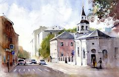 Сретенские ворота, Успенская церковь, Москва, акварель, рисунок