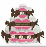 Pink Baby Elephant - 3 Tier Personalized Square - Baby Shower Diaper Cake