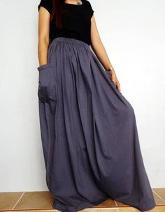 Women Maxi Long Skirt , Casual Gypsy, Bohemian , Cotton Blend In Gray (Skirt Long Maxi Skirts, Gray Skirt, Bohemian Gypsy, Grey Stripes, Birthday Money, Uganda, Casual, Cotton, How To Wear