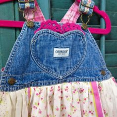 Size 12 month, Cute OshKosh girls overall, with a skirt made of six pretty vintage, floral printed hankies, and a hot pink doily tucked in the hear... image 1