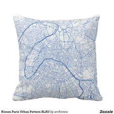 Kissen Paris Urban Pattern BLAU