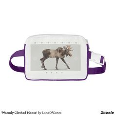'Warmly Clothed Moose' Nylon Fanny Pack, #christmas, #giftidea