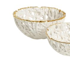 tangled web bowl with gold rim