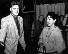 March 4, 1959: Elvis enjoying himself with actress Vera Tschechowa at the Bavaria Film Studios.  Photo: private   Possibly one of the best known jackets in Rock and Roll history, worn on the Milton Berle show to perform Hound Dog,