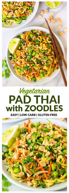 Easy Vegetarian Pad Thai with Zucchini Noodles. Full of protein and flavor, not too spicy, gluten free, and low carb! This fast and healthy one pot meal is perfect for busy families and weeknight dinner. Includes tips to make vegan. Recipe at wellplated.com | @wellplated