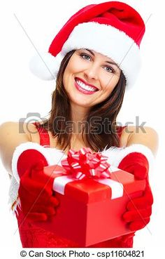 Stock Photo - Santa helper Christmas girl with a present. - stock image, images, royalty free photo, stock photos, stock photograph, stock photographs, picture, pictures, graphic, graphics