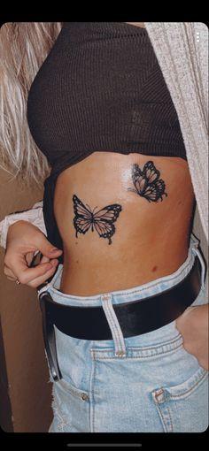 Flower Tattoo On Ribs, Butterfly Tattoo On Shoulder, Butterfly Tattoos For Women, Small Butterfly Tattoo, Flower Tattoos, Small Rib Tattoos, Spine Tattoos For Women, Cute Tattoos For Women, Tattoo Small