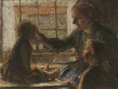 Mother carries a snack, Bernardus Johannes Blommers. Dutch (1845 - 1915)