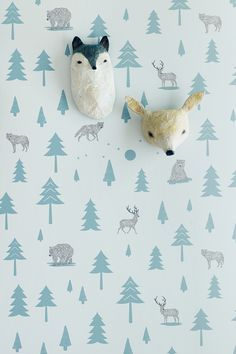 Into the Wild Wallpaper – Storm Green and Taupe on Soft Grey Abigail Brown paper mashe faux taxidermy heads