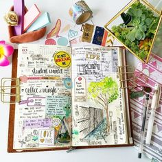 Inspiration and ideas for keeping an art journal or travel journal - Love these midori travelers notebook layouts